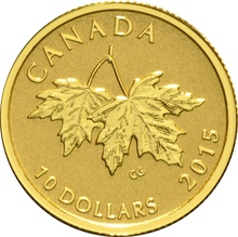 2015 $10 Pure Gold Coin Maple Leaves 1/4oz Boxed