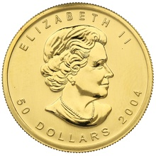 2004 1oz Canadian Maple Gold Coin 25th Anniversary