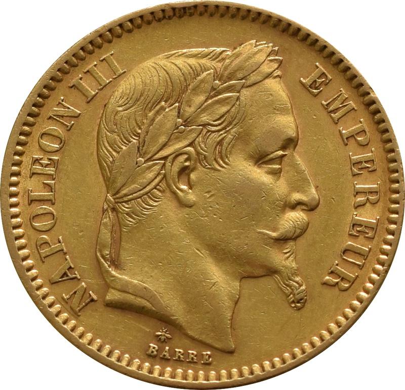 20 French Francs - Napoleon III Laureate Head