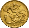 1916 Gold Half Sovereign - King George V - S