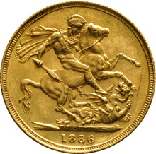1886 Gold Sovereign - Victoria Young Head - S