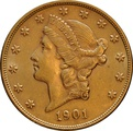 1901 $20 Double Eagle Liberty Head Gold Coin, Philadelphia