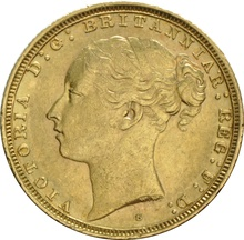 1880 Gold Sovereign - Victoria Young Head - S