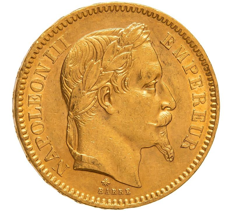 1862 20 French Francs - Napoleon III Laureate Head - A