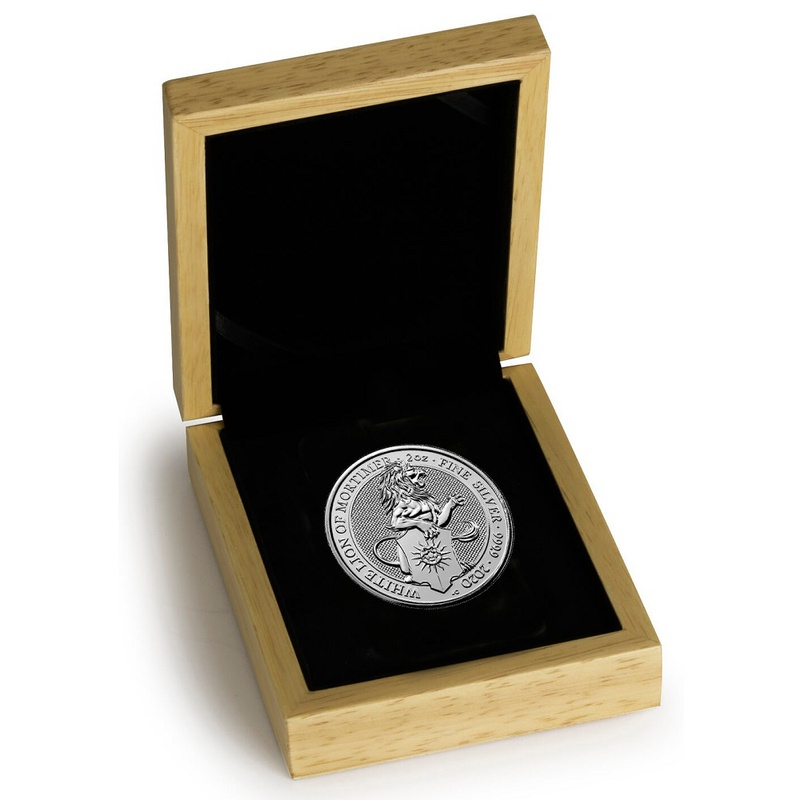2020 2oz Silver Coin, White Lion of Mortimer, Queen's Beast Boxed