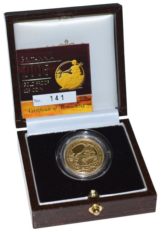 2005 Britannia Quarter Ounce Gold Proof Coin Boxed