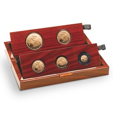 2015 Gold Proof Sovereign Five Coin Set - fifth head Boxed