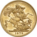 1879 Gold Sovereign - Victoria Young Head - London