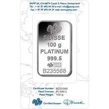 PAMP 100 Gram Platinum Bar Minted