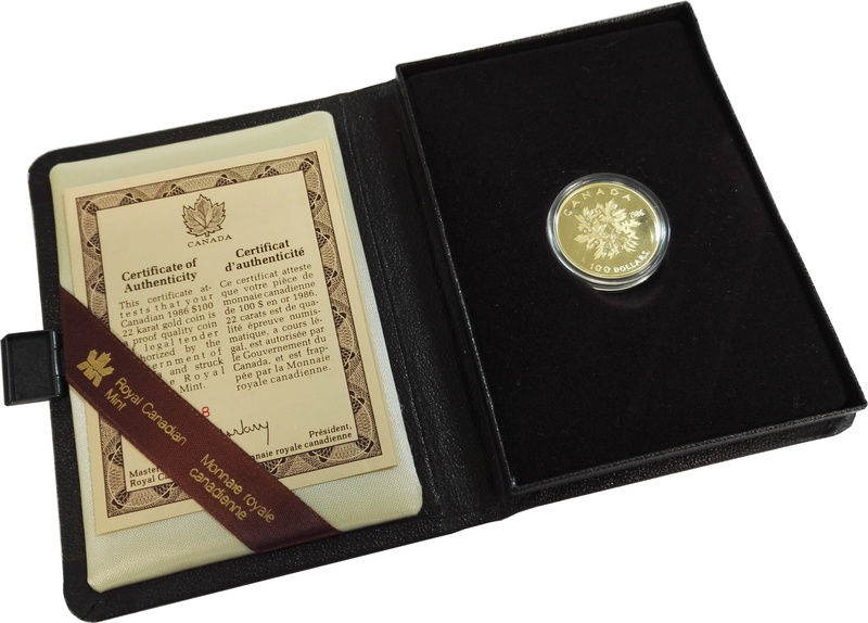 Canadian 1986 $100 half ounce gold Proof coin Peace-Paix over branches Boxed
