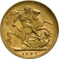 1897 Gold Sovereign - Victoria Old Head - M