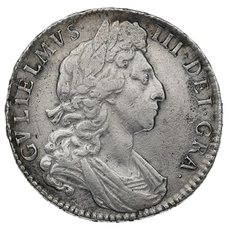 1697/8 7 William III Silver Milled Halfcrown RARE