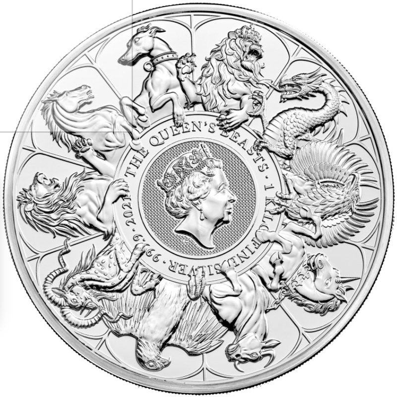 2021 Queen's Beast Completer 1kg Silver Coin