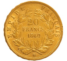 1860 20 French Francs - Napoleon III Bare Head - BB