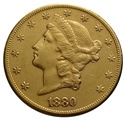 1880 $20 Double Eagle Liberty Head Gold Coin, San Francisco