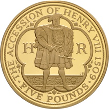 2009 - Gold £5 Proof Crown, Henry VIII Boxed
