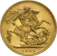 1895 Gold Sovereign - Victoria Old Head - M