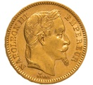 1864 20 French Francs - Napoleon III Laureate Head - A