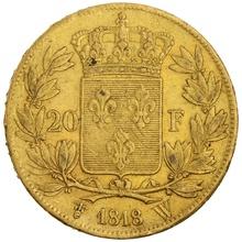 1818 20 French Francs - Louis XVIII Bare Head - W