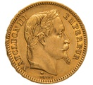 1861 20 French Francs - Napoleon III Laureate Head - A