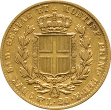 1834 Sardinian 20 Lire Gold Coin Carlo Alberto