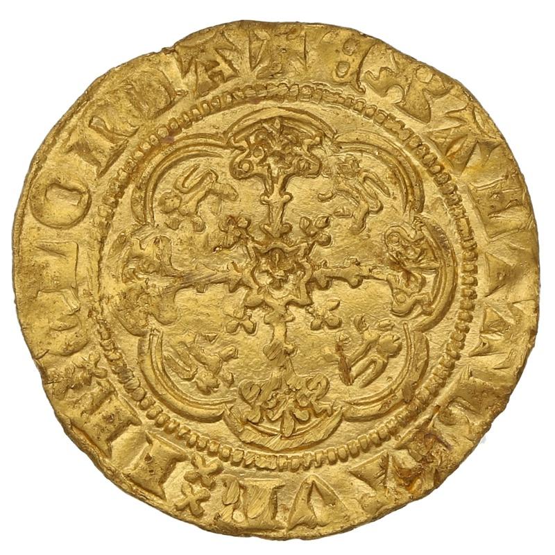 1361-9 Edward III Hammered Gold Quarter Noble mm Cross Potent