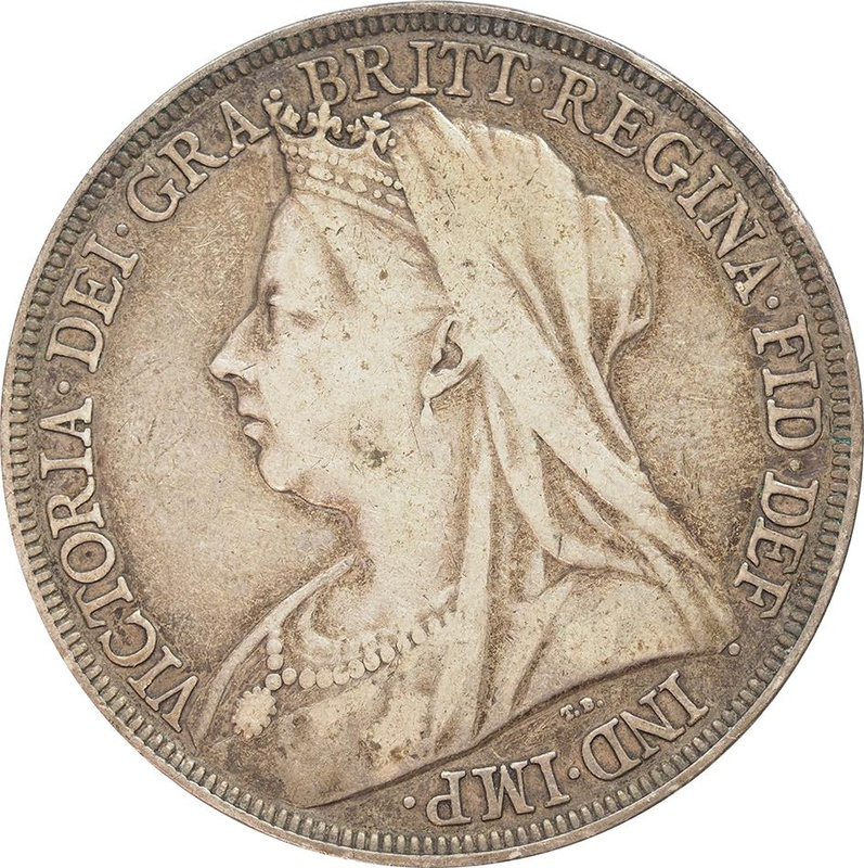 1896 Victoria Old Head Silver Crown