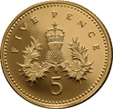 2002 Gold Proof 5p Five Pence Piece - Crowned Thistle