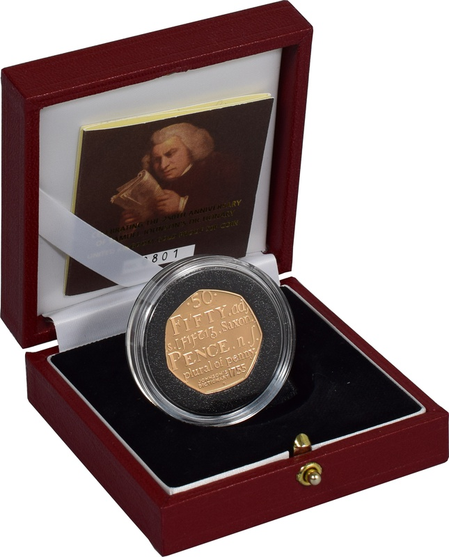 Gold Proof 2005 Fifty Pence Piece - Samuel Johnson Boxed