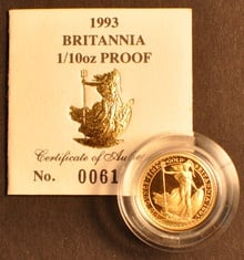 1993 Proof Britannia Tenth Ounce Boxed