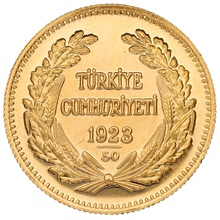 Turkish 250 Piastres Kurush Gold Coin - Kemal Ataturk
