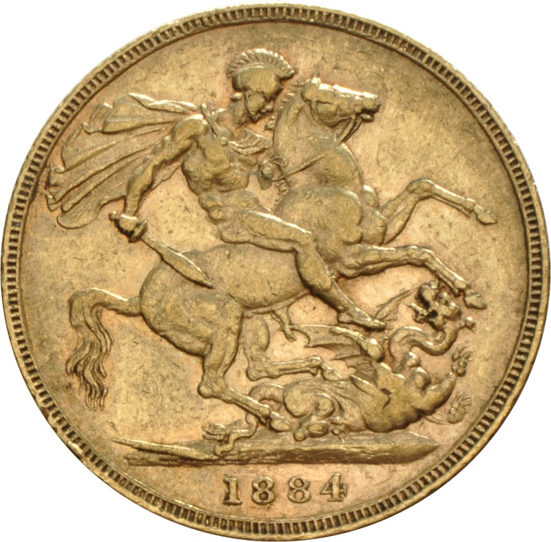 1884 Gold Sovereign - Victoria Young Head - M