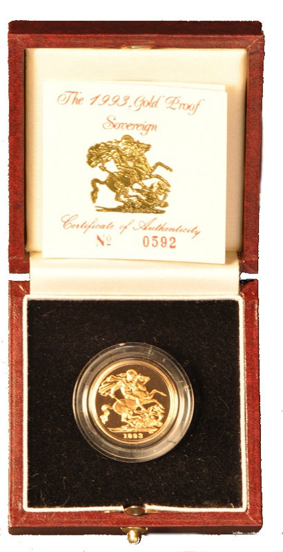 Gold Proof 1993 Sovereign Boxed