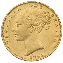 1865 Gold Sovereign - Victoria Young Head Shield Back - London