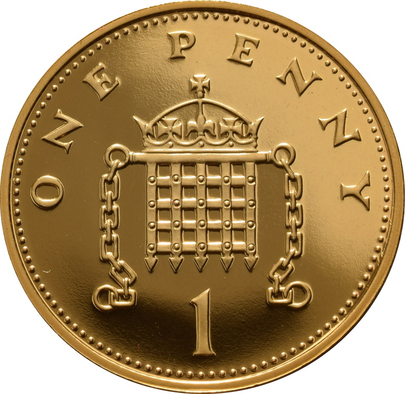 2008 Gold Proof One Penny Piece 1p - Crowned Portcullis