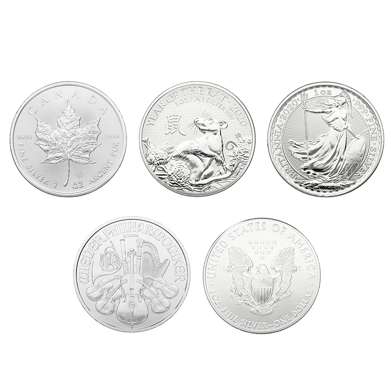 2020 1oz Silver Coin Set; Eagle, Maple, Brit, Phil, Rat