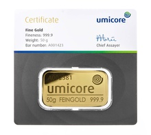 Umicore 50 Gram Gold Bar