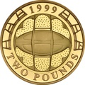 1999 £2 Two Pound Proof Gold Coin: Rugby World Cup