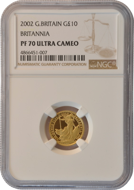 2002 Tenth Ounce Proof Britannia Gold Coin NGC PF70