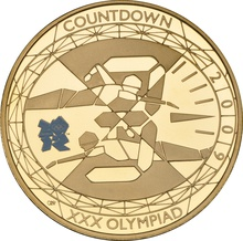 2009 - Gold £5 Proof Crown, Countdown to London 2012 Swimming Boxed
