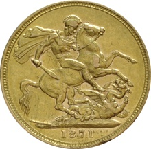 1871 Gold Sovereign - Victoria Young Head - London