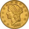1891 $20 Double Eagle Liberty Head Gold Coin, San Francisco