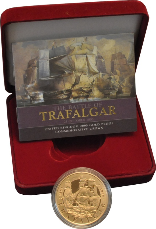 2005 - Gold £5 Proof Coin, Battle of Trafalgar Boxed