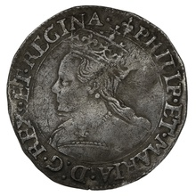 1554-8 Philip & Mary Hammered Silver Groat - mm Lis