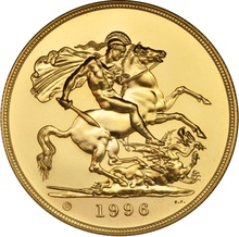 1996 - Gold £5 Brilliant Uncirculated Coin Boxed