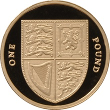£1 One Pound Proof Gold Coin - Shield of Arms -2008