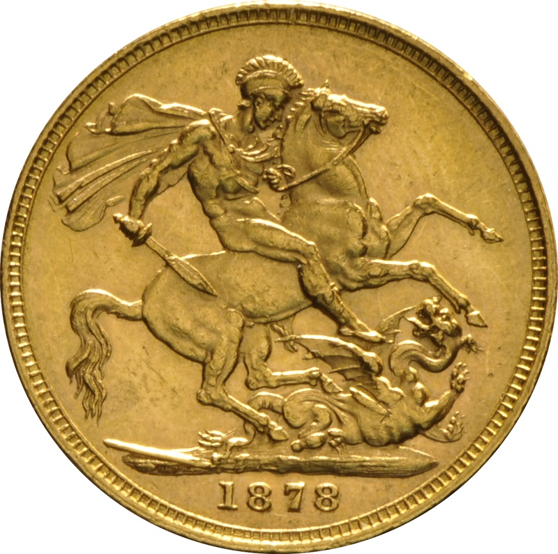 1878 Gold Sovereign - Victoria Young Head - M