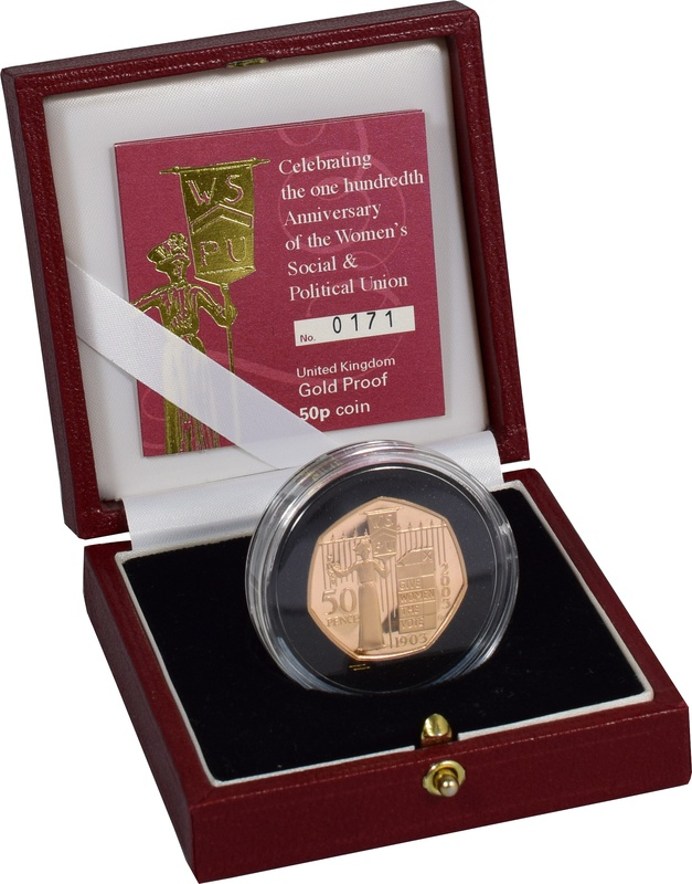 Gold Proof 2003 Fifty Pence Piece - Womens Social and Political Union Boxed