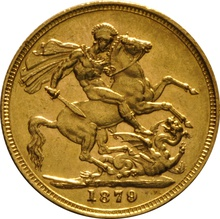 1879 Gold Sovereign - Victoria Young Head - M