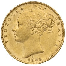 1866 Gold Sovereign - Victoria Young Head Shield Back - London